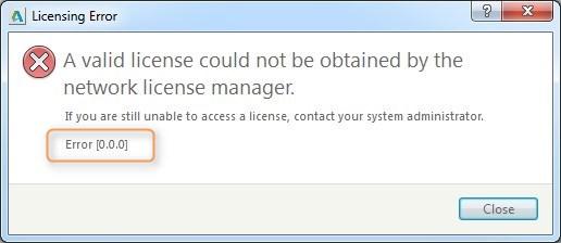 Lizenz Fehler, Error [0.0.0] Network License Manager