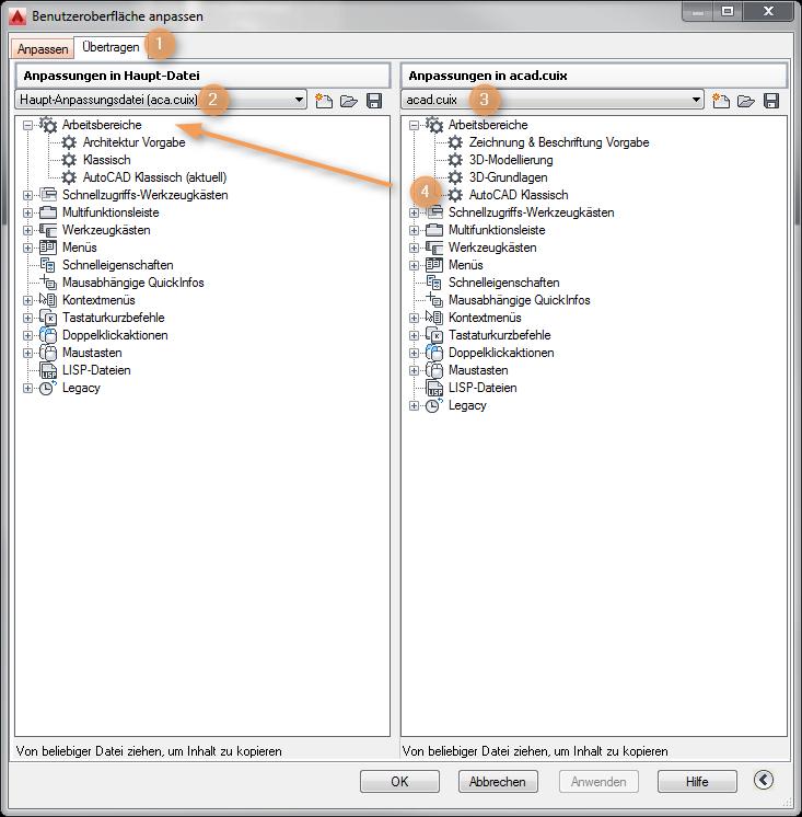 AutoCAD Architecture - Klassische Oberfläche importieren