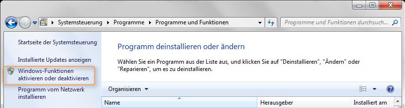 .NET Framework 3.5 hinzufügen
