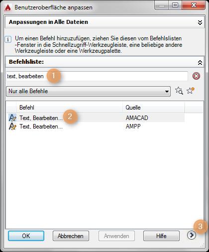 """Aufrufen von SCHNELLCUI und suche nach """"Text Bearbeiten"""""""