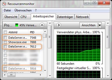Durch den Import von mehreren Dateien werden mehrere DataServer.exe gestartet