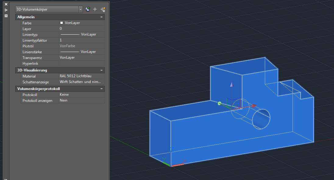 Das Volumen ist nicht mehr in den Eigenschaften zu finden bei AutoCAD 3D