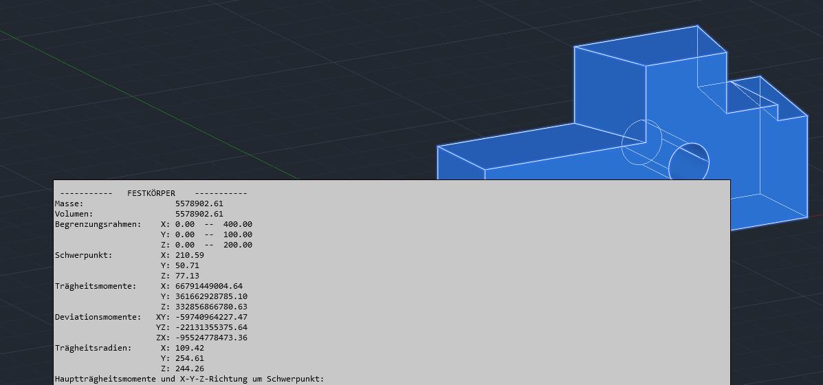 MASSEIG oder _MASSPROP zeigt unter anderem das Volumen an AutoCAD 3D