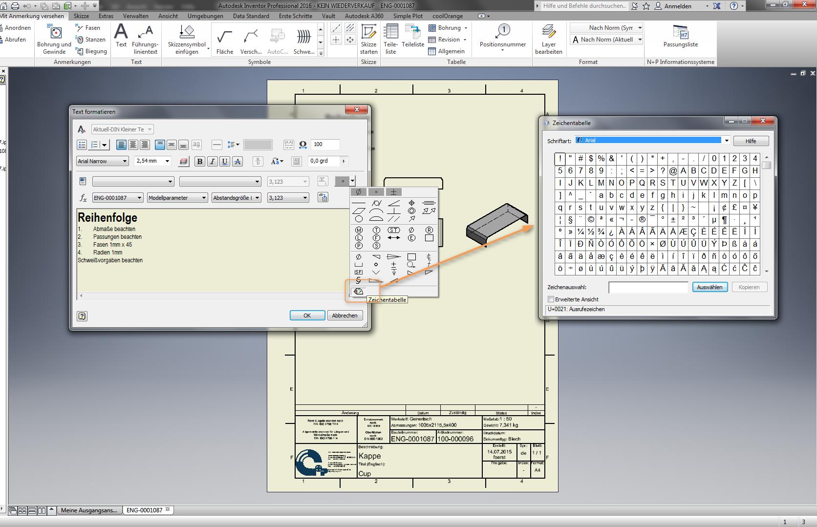 Textformatierungin Inventor Verwendung Windows Symbolbibliothek