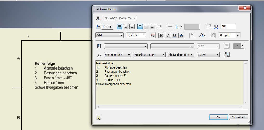 Textformatierungin Inventor Live-Vorschau