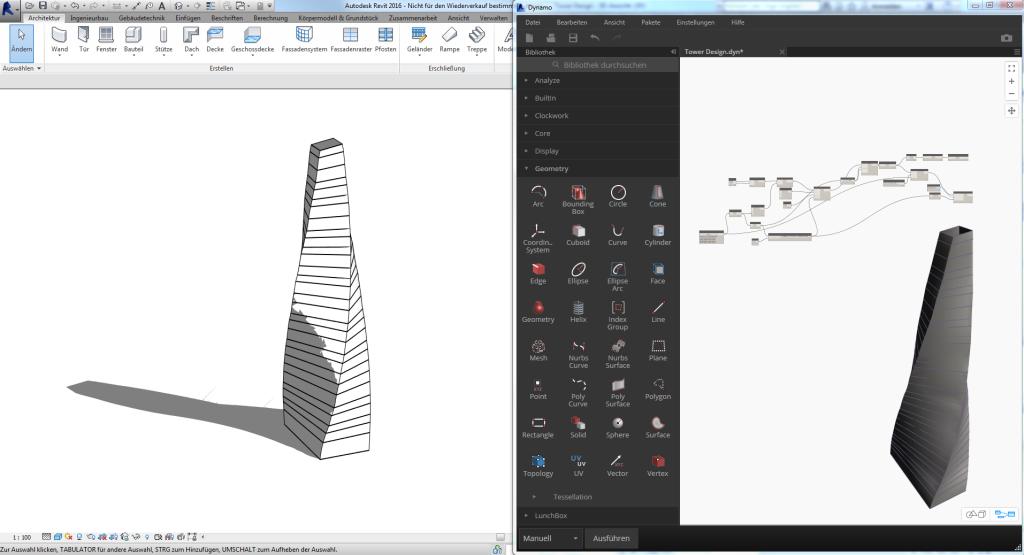 Erstellung eines Turms während der Entwurfsphase