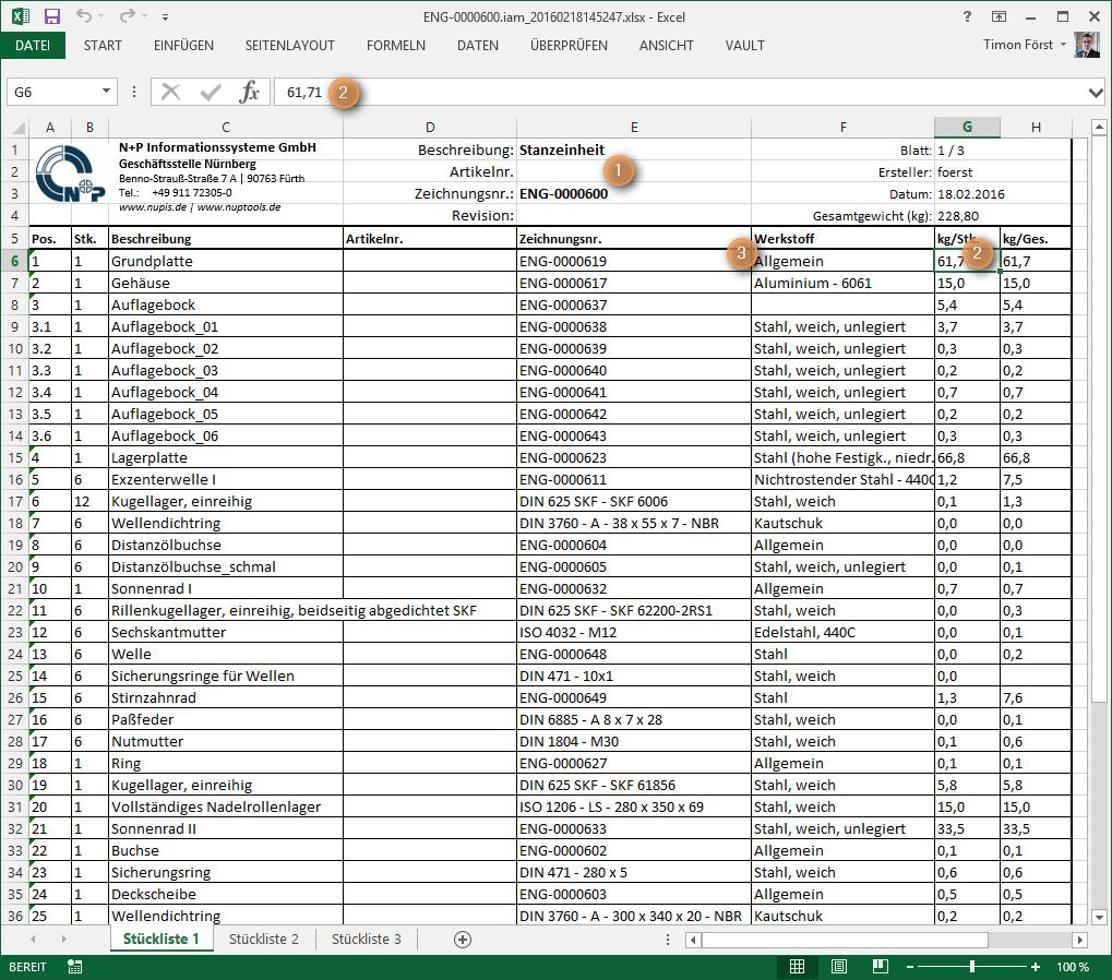 Export der Strukturstückliste in eine Excelvorlage direkt ausInventor