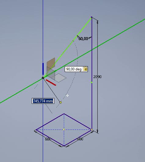 Inventor 2017 - 3D Skizze Orthomodus in zwei Dimensionen