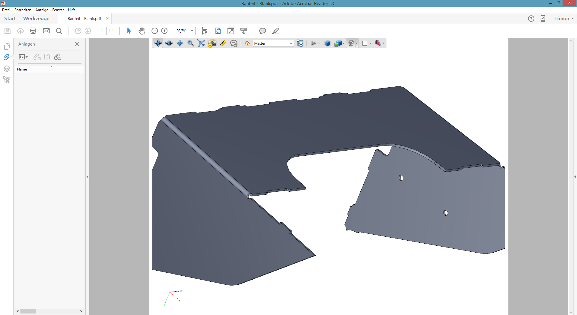 """3D PDF Inventor 2017 Vorlage """"Blank"""""""