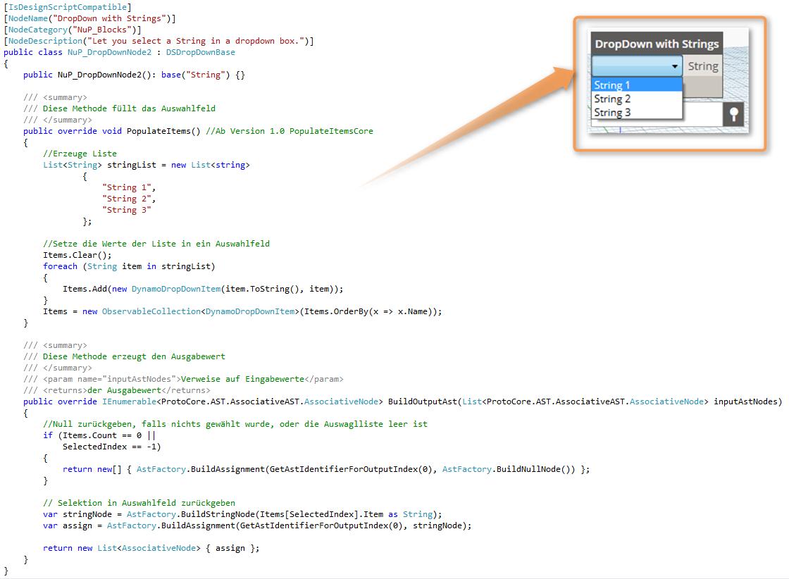 Codebeispiel Umsetzung vom DSDropDownBase