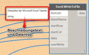 Beschreibungstexte und Datentypen für Excel Export Dynamo