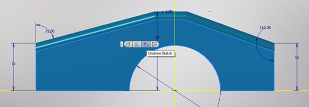 Minitoolbar in der 3D Skizze Inventor 2017.3