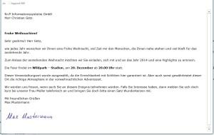 Weihnachtspost als APplus-Serien-E-Mail