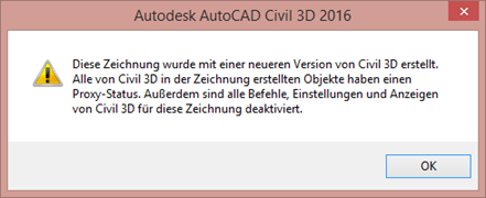 Warnung AutoCAD Civil 3D 2016