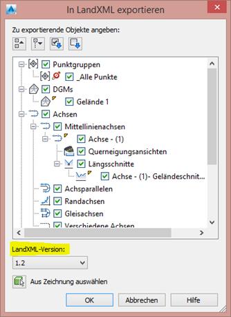 In LandXML exportieren