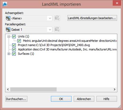 LandXML importieren