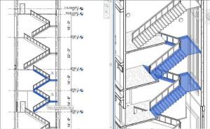 Einfache Treppenkonstruktion über mehrere Etagen in der Version Revit 2018
