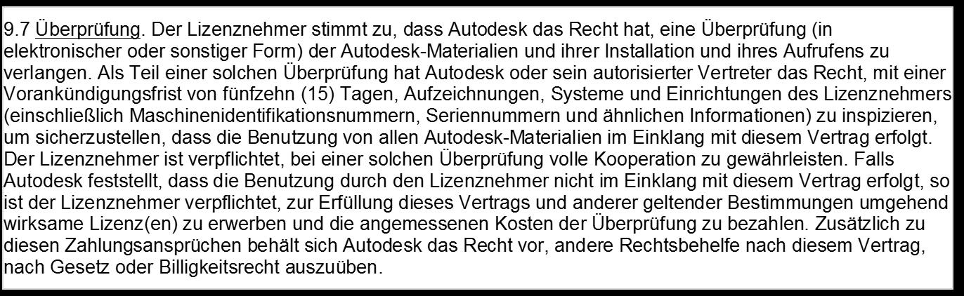 Autodesk-Lizenzerecht Auszug LSA