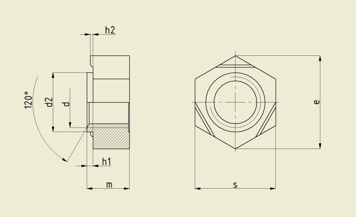 Zeichnung: Technische Daten Schweißmutter