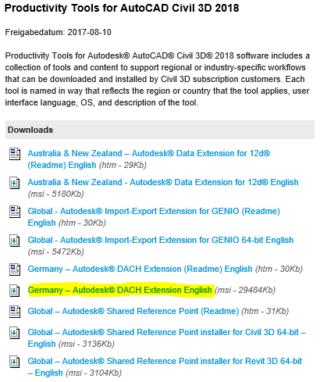Download der MSI-Datei für die DACH-Extension