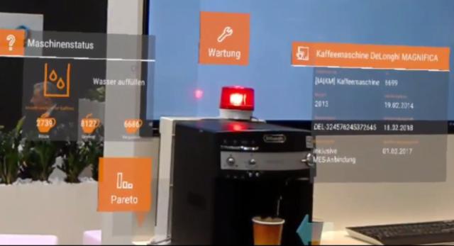 Kaffeeautomat als Sinnbild einer Maschine. Darstellung des Maschinenstatus durch die AR-Brille.