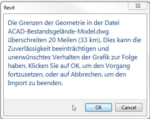 Revit-Warnhinweis: Geometriegrenzen überschreiten 33 km - Koordinatensysteme in Revit