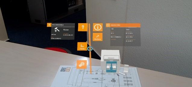 Digitale Anzeige von Produktionskennzahlen mit Blick durch die AR-Brille auf ein 2D-Layout