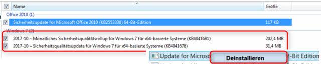 inventor-excelfehler-windows-updates-deinstallieren