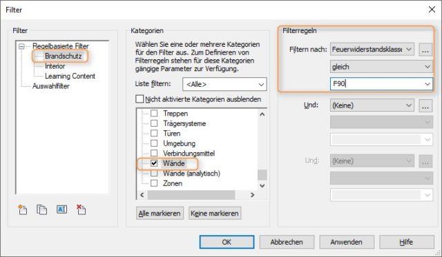 Erstellen eines Filters in Revit