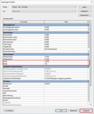Änderung der Typeneigenschaften in Autodesk Revit