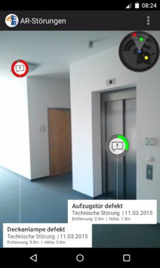 Darstellung offener Stoerungen in einem Raum – Mithilfe moderner Technologien werden Störungen auf dem Smartphone dargestellt