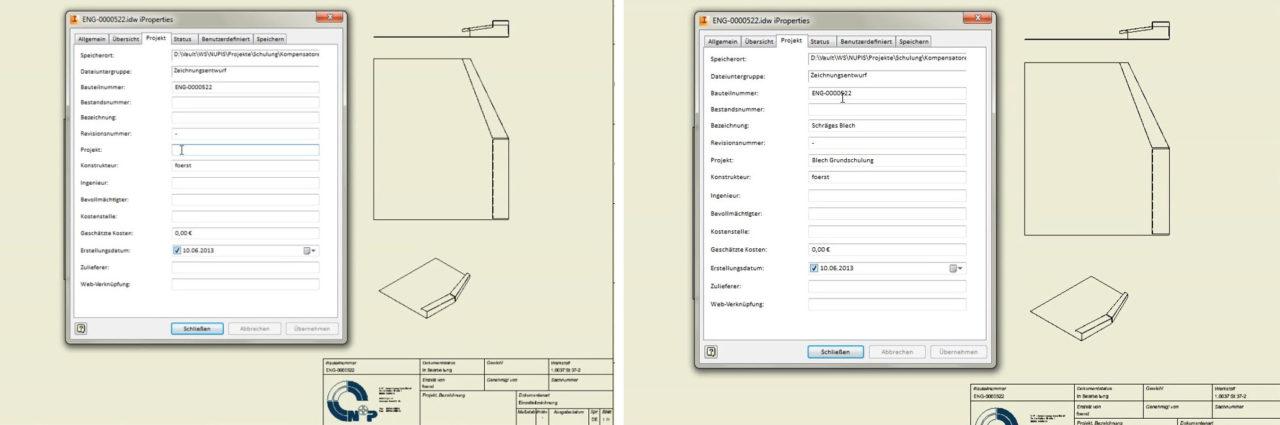 Autodesk-Inventor-iProperties-übertragen-auslesen-Zeichnung-vorher-und-nachher
