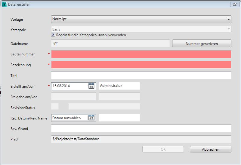 Autodesk Vault Data Standard Menü Pflichtfelder NuPDataStandard