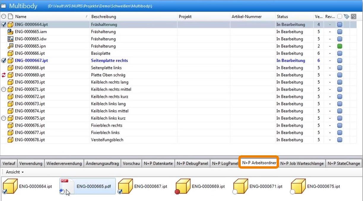 Autodesk Vault Sicht Import Dateien im Arbeitsordner NuPFileBrowser