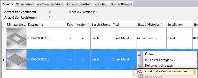 Autodesk Vault alte Dateiversion als aktuelle NuPVersionOnTop