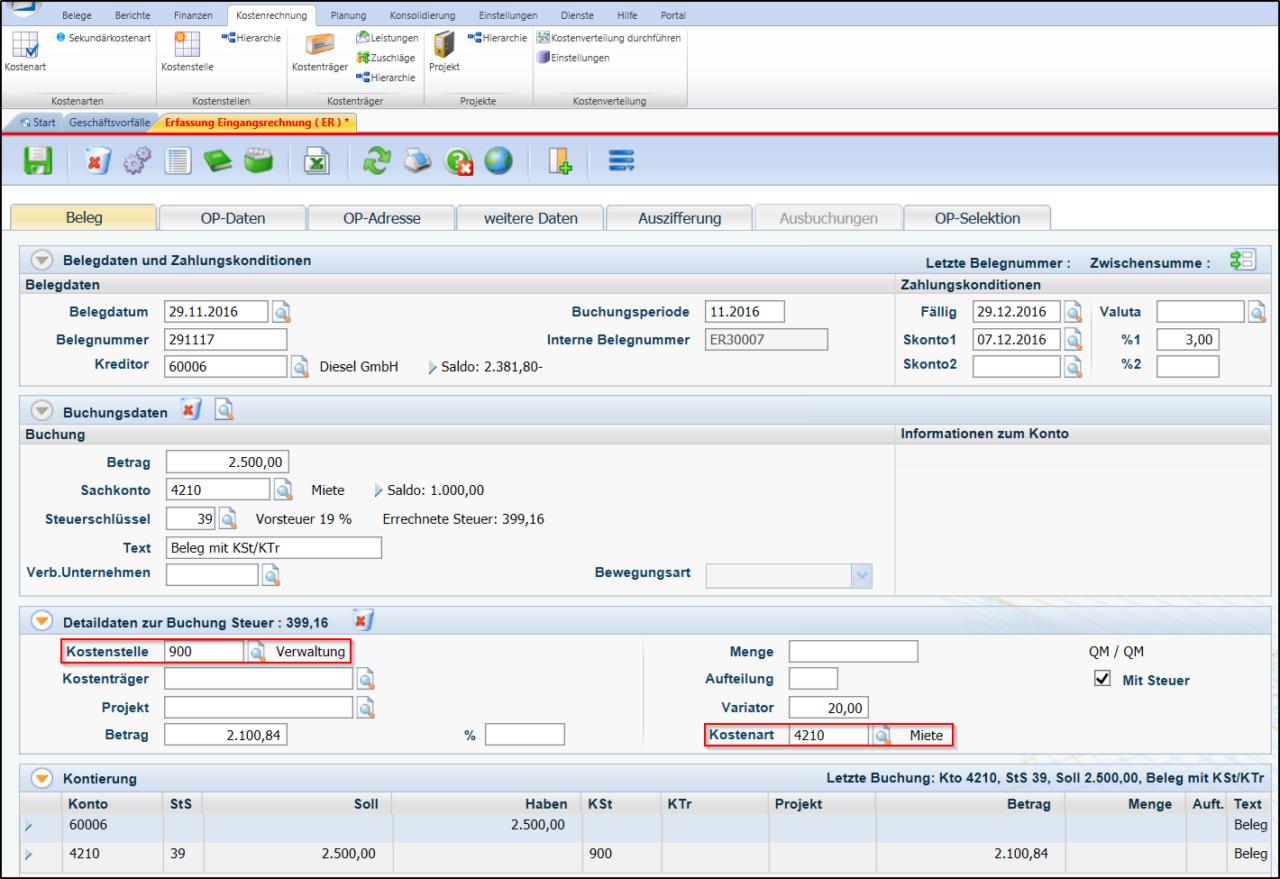 Screenshot zur Erfassung der Istkosten