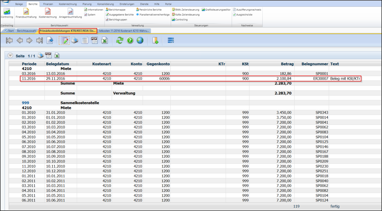 Screenshot Übernahme der Aufwandsbuchungen in die Kostenrechnung