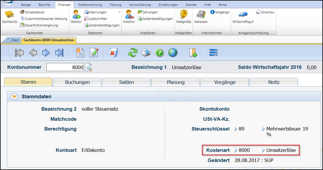 Screenshot Kostenartenplan