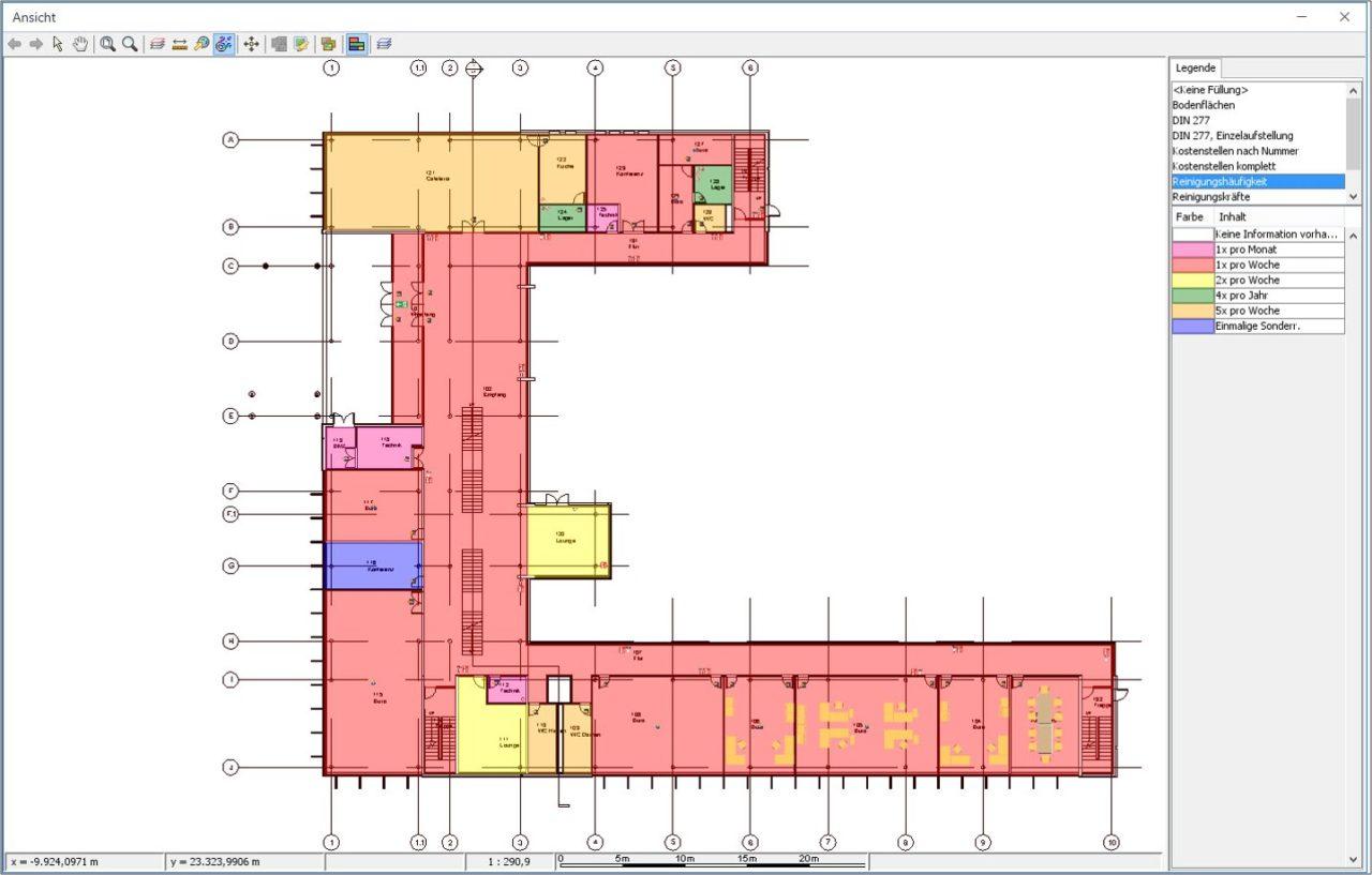 CAD-Darstellung des Geschossplans mit den Reinigungshaeufigkeiten