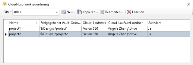 Cloud-Laufwerksfunktion in Autodesk Vault 2019