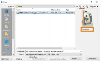 Darstellung der Dateiversion vor dem Oeffnen