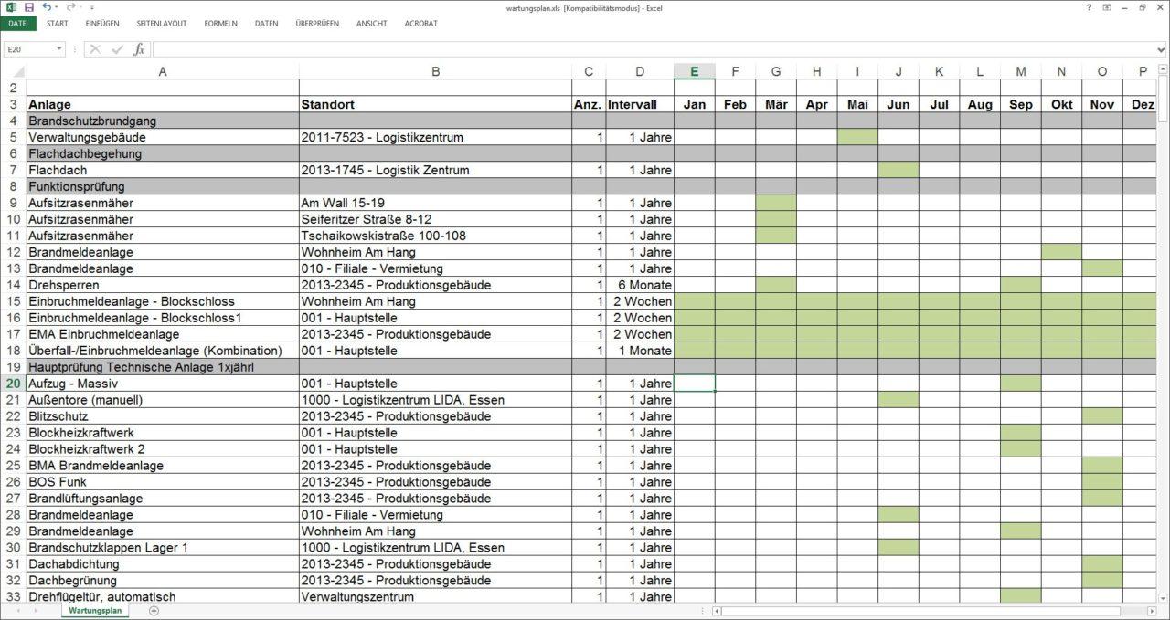 Export des aktuellen Wartungsplans nach Excel