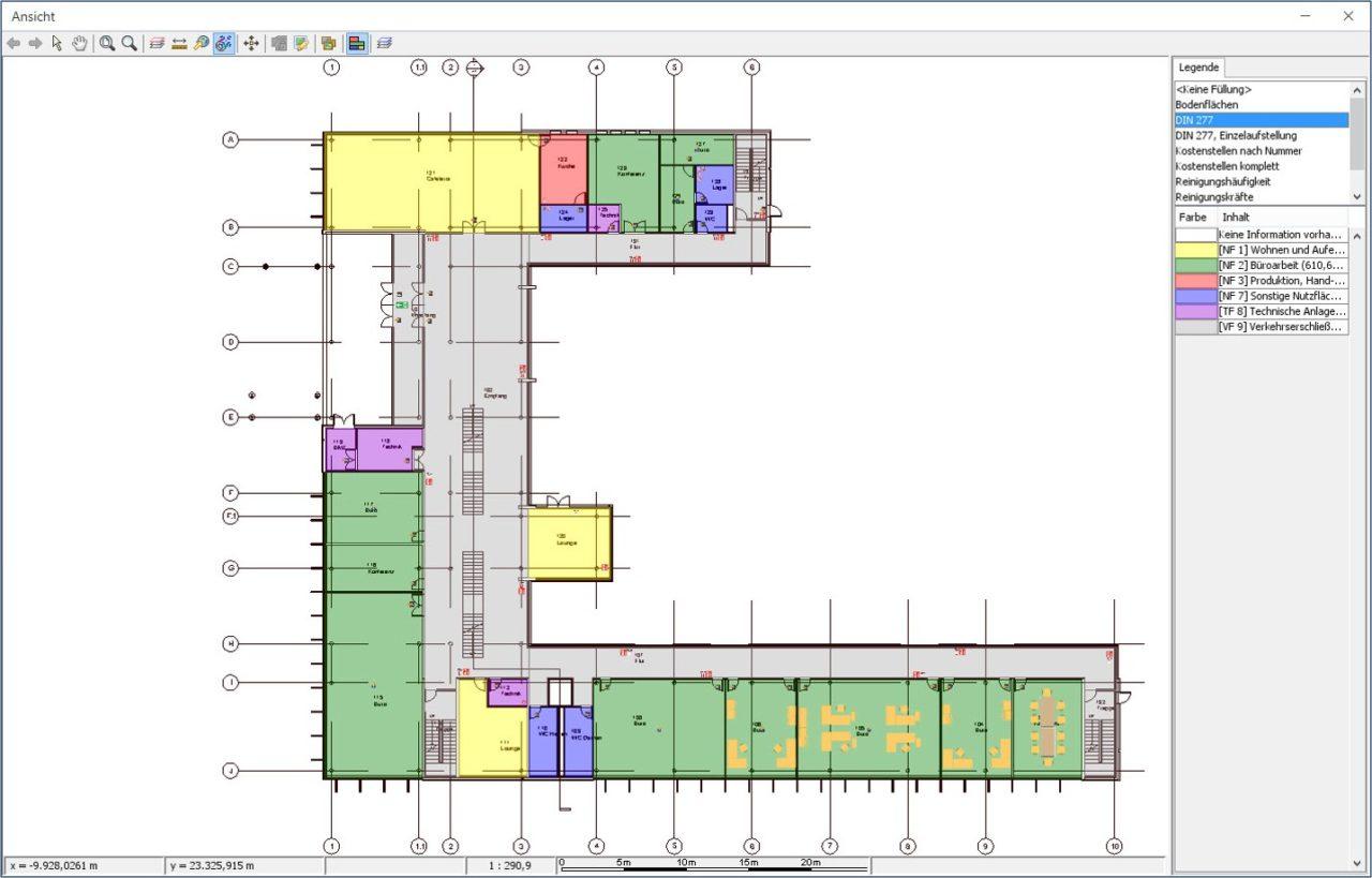 Darstellung der Flaechen nach DIN 277 in der CAD-Ansicht