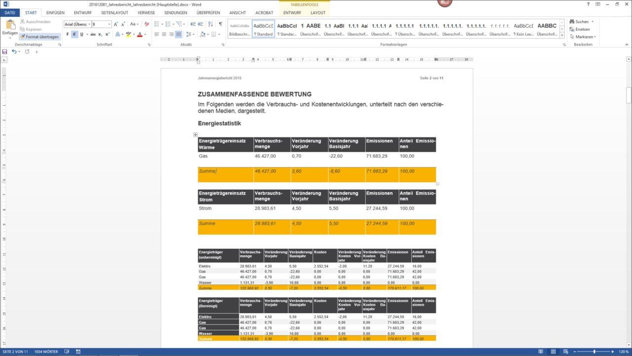 Weiterbearbeitung des Energieberichts in Word, welcher auf Basis der Informationen in der CAFM-Loesung erstellt wurde