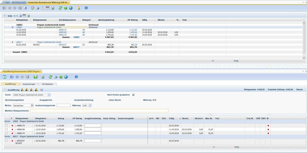 Produktives-Debitoren- und Kreditorenmanagement-Diamant®/3-Bericht-gemischtes Kontokorrent-mit-Auszifferungsmaske
