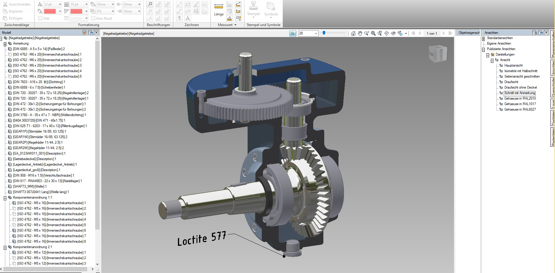 Querschnitt Kegelradgetriebe DWFx-Datei Autodesk Design Review