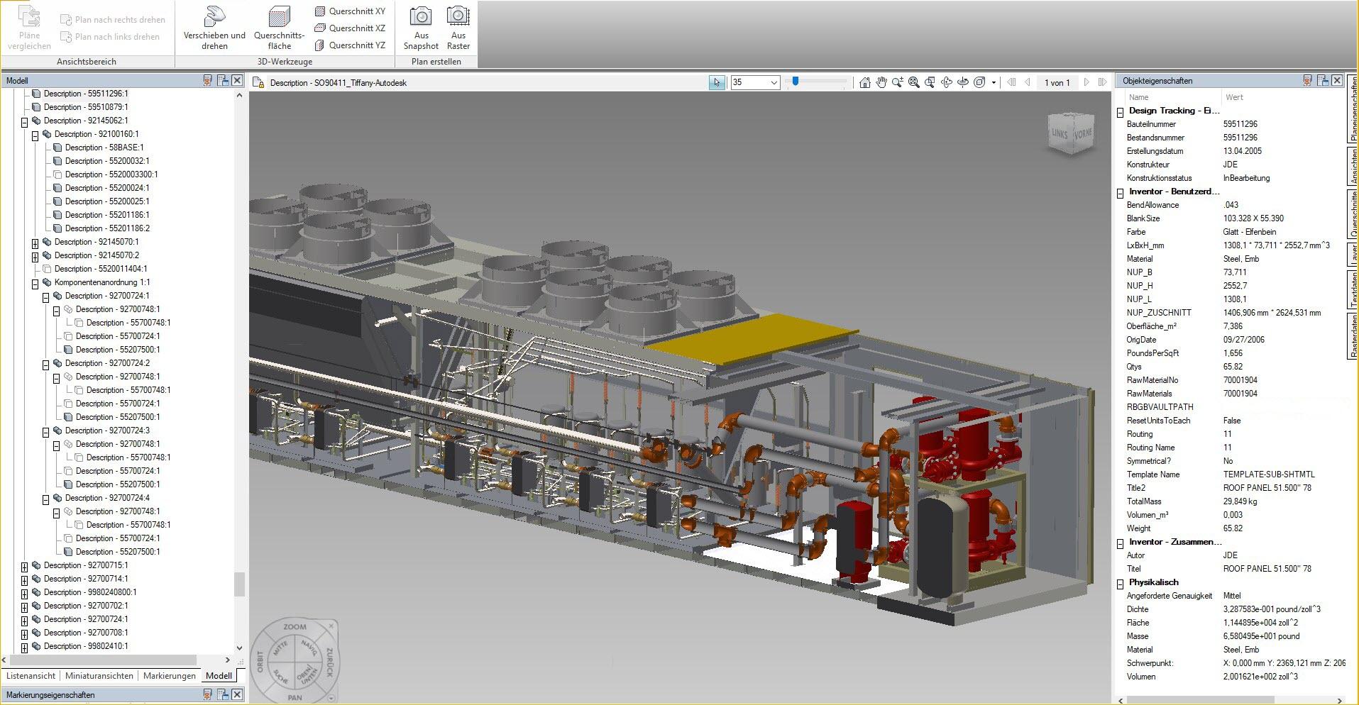 """Beispiel für ein- und ausblendbaren Komponenten im Viewer """"Design Review"""" von Autodesk"""