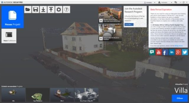 Startbild von Autodesk ReCap