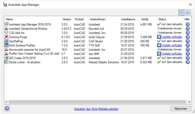 Statusanzeige Autodesk App Manager