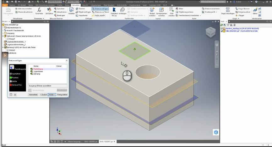 iFeature einfügen DIN 472 Autodesk Vault